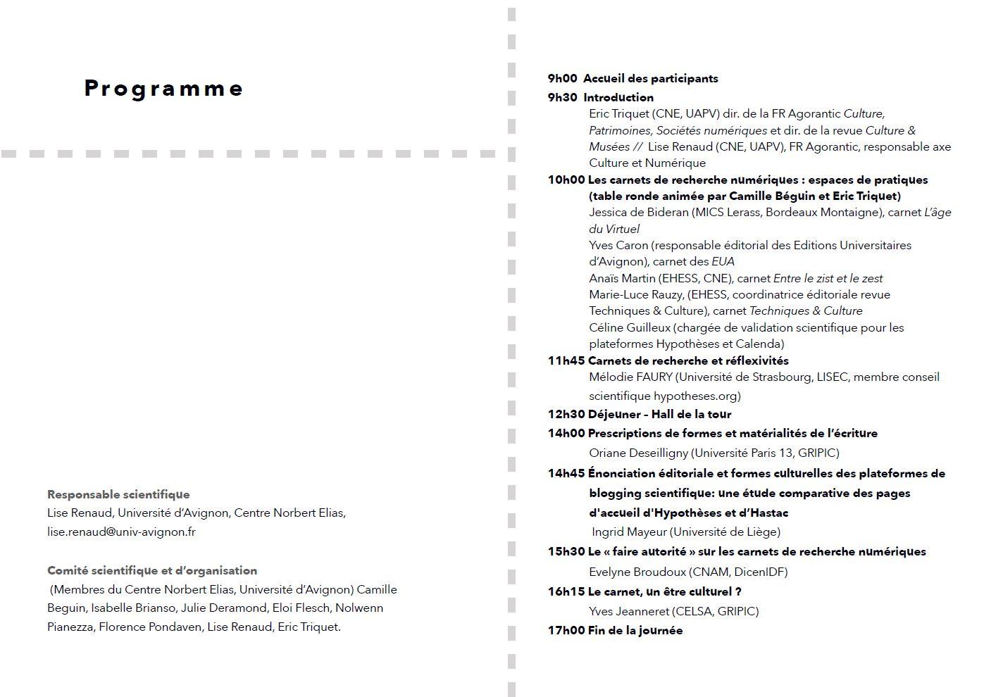 Image du programme du sémainre Carnet de recherche